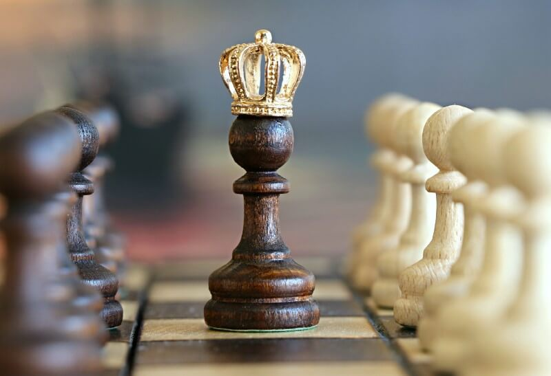 Picture of chess pawn wearing a crown.