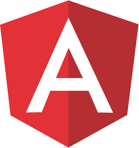 Image presents logo of javascript framework named Angular.